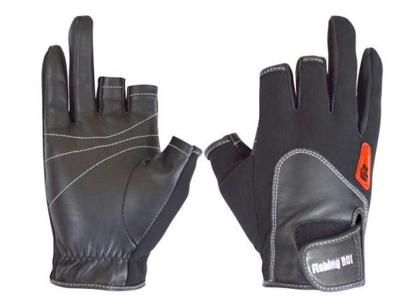 Перчатки спиннингиста черные (с 2 пальцами) 301-WK-11L-B Fishing ROI L(р)