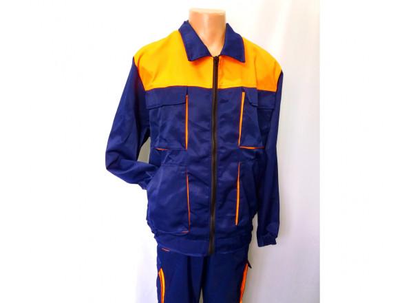Китель для работников синий с оранжевыми вставками 9485 54(р)